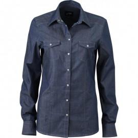 James & Nicholson - Dame Denim skjorte