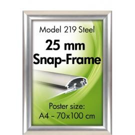 Alu klik-ramme, væg, 25 mm., rustfrit Stål