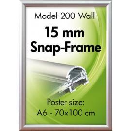 Alu-klik-ramme, væg, 15 mm., sølveloxeret, A6