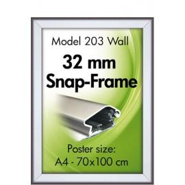 Alu klik-Ramme, væg, 30 mm., sølveloxeret