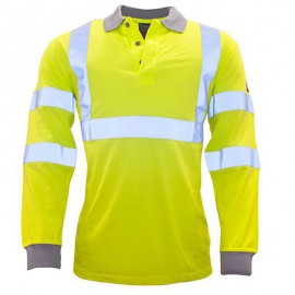 Portwest - Flammehæmmende langærmet Hi-Vis Polo Shirt